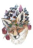 Piękny lis w wianku dzicy kwiaty Akwareli ilustracja dla kartki z pozdrowieniami, plakata lub druku na, odziewa ilustracji