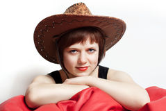 Piękny młoda kobieta kapelusz Obrazy Stock