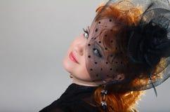 Piękny młoda kobieta portret. Rocznik Projektujący. Retro obrazy royalty free