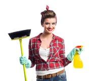 Piękny młody cleaner Zdjęcia Stock