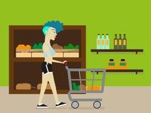 Piękny młody sprawności fizycznej kobiety zakupy dla owoc i warzywo w produkt spożywczy dziale supermarket lub sklep spożywczy ilustracja wektor