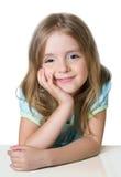 Piękny mała dziewczynka portret na bielu obrazy royalty free