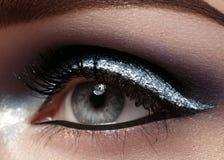 Piękny makro- strzał żeński oko z ceremonialnym makeup Doskonalić kształt brwi, eyeliner i srebra linia na powiece, obrazy royalty free