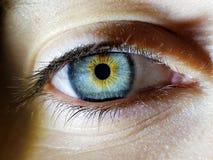 Piękny makro- zbliżenie strzał żeńska istota ludzka zgłębia oczy zdjęcia royalty free