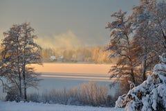 Piękny marznący zimy jeziora krajobraz Fotografia Stock