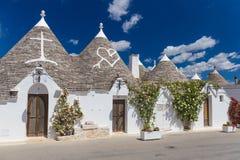 Piękny miasteczko Alberobello z trulli domami, główny turistic okręg, Apulia region, Południowy Włochy Fotografia Stock