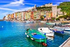 Piękny miasteczko przybrzeżne Portovenere, Cinque Terre park narodowy fotografia stock