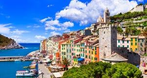 Piękny miasteczko przybrzeżne Portovenere, Cinque Terre, Włochy obraz royalty free