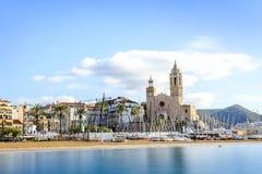 Piękny miasteczko Sitges, Catalonia, Hiszpania zdjęcia royalty free