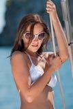 piękny mienia luksusu arkany kobiety jacht Obraz Stock