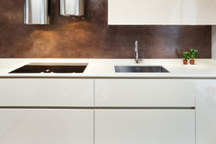 Piękny mieszkanie meblujący, kuchnia Obrazy Royalty Free