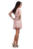 Piękny moda model jest ubranym suknię fotografia stock