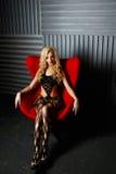 Piękny model, wewnętrzny studio Fotografia Royalty Free