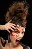Piękny mody kobiety koloru twarzy sztuki fenix styl i gwoździa projekt Fotografia Stock