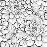 Piękny monochrom, czarny i biały bezszwowy tło z kwiat dalią Zdjęcie Stock