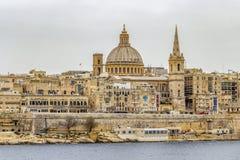 Piękny morze śródziemnomorskie widok Valletta, Malta obraz royalty free
