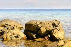 Piękny morze krajobraz w Grecja Obrazy Royalty Free