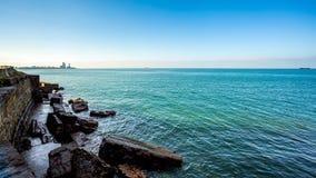 Piękny morze krajobraz w Gruzja Widok na Batumi mieście - 24 11 Zdjęcie Royalty Free