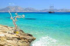 Piękny morze przy Koufonisia Pano wysepką, Mali Cyclades blisko Naxo Zdjęcie Stock