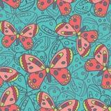 Piękny Motyli Błękitny Bezszwowy wzór Zdjęcia Royalty Free
