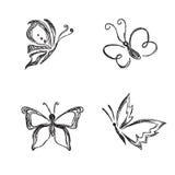 Piękny, motyli, wektorowy, ustawia, nakreślenie styl Fotografia Stock