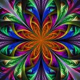 Piękny multicolor fractal kwiat. Komputer wytwarzać grafika ilustracji