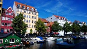 Piękny nabrzeże w Środkowym Kopenhaga blisko do Christiania, Zdjęcie Royalty Free