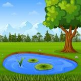 Piękny natura krajobraz z górami i wodnym stawem ilustracja wektor