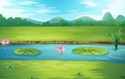 Piękny natury rzeki krajobraz royalty ilustracja