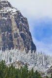 Piękny niebieskie niebo, szczerbiący szczyty i śnieg, frosted drzewa Fotografia Stock