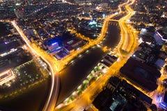 Piękny noc widok Ho Chi Minh pejzaż miejski SaiGon, Wietnam Obrazy Royalty Free