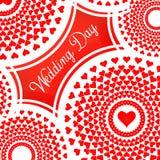Piękny nowożytny kreatywnie abstrakcjonistyczny tło z czerwonymi sercami Elegancki walentynka dnia tło z mandala i sercami Zdjęcie Royalty Free