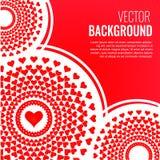 Piękny nowożytny kreatywnie abstrakcjonistyczny tło z czerwonymi sercami Elegancki walentynka dnia tło z mandala i sercami Fotografia Royalty Free