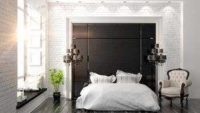 Piękny nowożytny sypialni wnętrze Obrazy Royalty Free