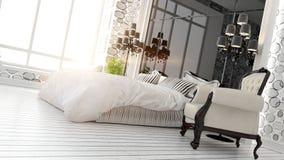 Piękny nowożytny sypialni wnętrze Zdjęcie Royalty Free