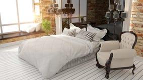 Piękny nowożytny sypialni wnętrze Obraz Royalty Free