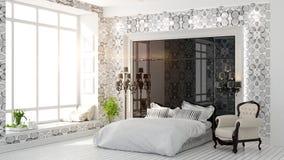 Piękny nowożytny sypialni wnętrze Obrazy Stock
