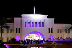 Piękny oświetlenie wznawiający Bab Al Bahrajn łuk Fotografia Stock