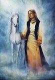 Piękny obraz olejny mistyczna kobieta w dziejowej sukni ilustracji