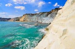 Piękny ocean plaży Scala dei Turchi w Sicily Zdjęcia Stock