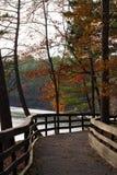 Piękny odprowadzenie most w jesieni fotografia stock