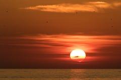 Piękny ogień barwił zmierzch nad Adriatyckim morzem w Chorwacja obrazy stock