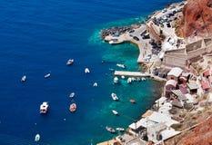 Piękny Oia w Santorini wyspie, schronienie zdjęcia stock
