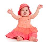 Piękny osesek siedzi w kwitnącym kapeluszu i sukni obraz stock