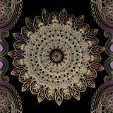 Piękny ozdobny złocisty arabeskowy wektorowy bezszwowy wzór Elegancja języka arabskiego stylu round koronki kwiecisty mandala Orn ilustracji