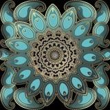 Piękny ozdobny złocisty Paisley wektorowy bezszwowy wzór Elegancja języka arabskiego stylu round koronki kwiecisty mandala Orname ilustracji