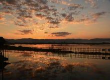 Piękny półmroku niebo nad Inle jeziorem zdjęcie royalty free