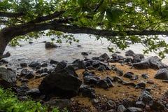 Piękny Północny brzeg Kauai dukt po tym jak ważna ulewa, Hawaje zdjęcie royalty free