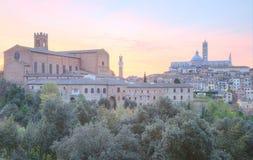 Piękny panoramiczny widok średniowieczny historyczny stary miasteczko Siena Fotografia Royalty Free