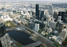 Piękny pejzaż miejski Melbourne, Australia. Widok z lotu ptaka od sk Obraz Royalty Free